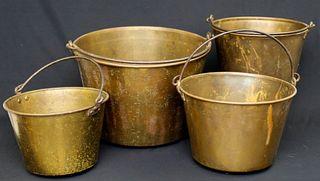 Four Antique Brass Buckets
