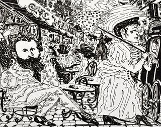 """Red Grooms """"Cafe Manet"""" Etching, Signed Edition"""