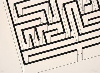 """Robert Morris """"Labyrinth"""" Silkscreen, Signed Edition"""