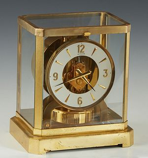 Jaeger Lecoultre Atmos Brass and Glass Mantel Clock, Ser. # 258797, 1960-1980, H.- 9 1/4 in., W.- 8 1/4 in., D.- 6 1/4 in.