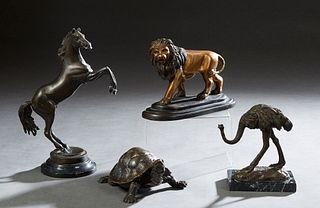 Group of Four Patinated Bronze Animalier Figures, 20th/21st c., consisting of a turtle; an ostrich on a marble base; a rearing horse on a marble base;