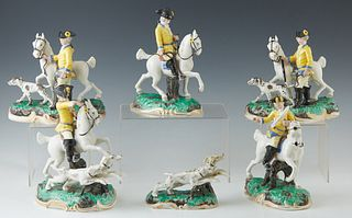 Six Piece German Mounted Hunt Party Porcelain Figural Groups, c. 1960, by Frankenthal, reproductions of the original 1770 porcelain figurines, made by