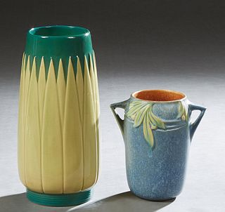 "Two Pieces of Roseville Pottery, consisting of a two handled matte blue Velmoss vase, c. 1935, #714, with an orange interior, the bottom with ""714"" in"