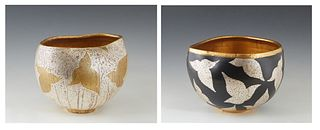 "Bennjamin Burts (Louisiana), ""Gold Leaf Ceramic Bowl,"" and ""Silver Leaf Ceramic Bowl,"" two asymmetrical bowls, 20th c., signed on the undersides, H.-"
