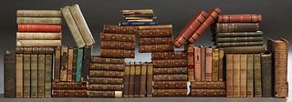 Group of Approximately 60 Books, consisting of 13 volumes of the Works of Charles Dickens with leather spines and corners and marbled covers; 10 volum