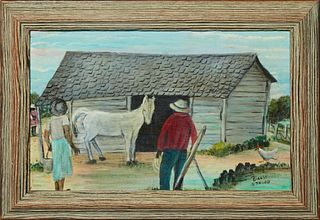 "Billie Stroud (1919-2010, Louisiana), ""The Horse Barn,"" 20th c., oil on board, signed lower right, presented in a wood frame, H.- 7 3/4 in., W.- 12 3/"