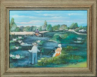 "Billie Stroud (1919-2010, Louisiana), ""Fishing on the River,"" 20th c., oil on canvas laid to board, signed lower right, presented in a wood frame, H.-"