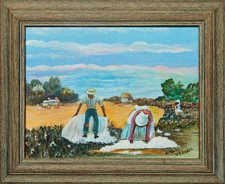 "Billie Stroud (1919-2010, Louisiana), ""Picking Cotton,"" 20th c., oil on board, signed lower right, presented in a wood frame, H.- 7 1/8 in., W.- 9 1/2"