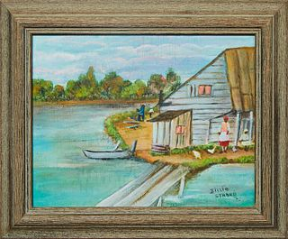 "Billie Stroud (1919-2010, Louisiana), ""At the Cabin,"" 20th c., oil on board, signed lower right, H. 7 1/8 in., W.- 9 1/2 in., Framed H.- 10 1/4 in., W"
