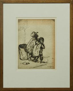 "Knute Heldner (1877-1952, Swedish/Louisiana), ""Street Urchins,"" 1933, etching, signed and dated in the plate lower right, presented in a wood frame, H"
