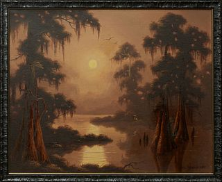 "Phil Thomasson (1925-1995, American/New Orleans), ""Bald Cypress Swamp Scene,"" 20th c., oil on canvas, signed lower right, presented in a wood frame, H"