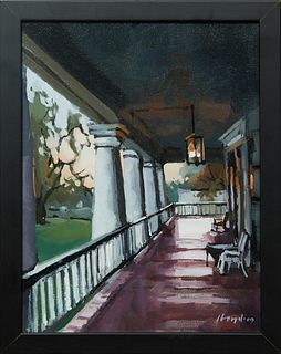 "David Lloyd (Virginia/Texas), ""Porch of Houmas House,"" 2009, acrylic on canvas, signed and dated lower right, presented in a black frame, Jean Bragg g"