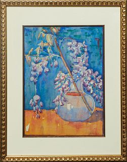 "Jane Randolph Whipple (1910-2007, Louisiana), ""Wisteria Still Life,"" 20th c., watercolor on paper, signed lower right, presented in a gilt frame, H.-"