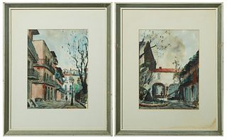 "Nestor Fruge (1914-2011, American/Louisiana), ""French Quarter,"" watercolors on paper, pair of French Quarter street scenes, signed lower left on one a"