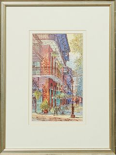 "New Orleans School, ""Pirates' Alley,"" 20th c., watercolor, unsigned, presented in a silvered wood frame, H.- 9 1/2 in., W.- 5 3/4 in."