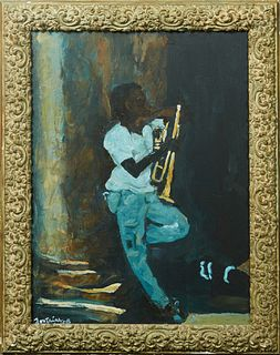 "Fontaine (New Orleans), ""Horn Player,"" 2008, oil on canvas, signed and dated lower left corner, presented in a wood frame, H.- 23 in., W.- 17 1/8 in.,"