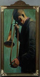 "Linda Lesperance (New York/New Orleans), ""Trombone Shorty,"" 20th/21st c., signed lower right, presented in a wood frame, titled en verso, H.- 20 in.,"