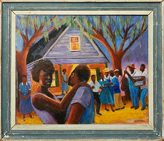 "Linda Lesperance (New York/New Orleans), ""The Fish Fry,"" 20th c., oil on canvas, signed lower right, presented in a painted wood frame, H.- 20 in., W."