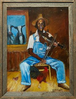 "Linda Lesperance (New York/New Orleans), ""Little Red Rooster,"" 20th c., oil on canvas, signed lower right, presented in a wood frame, H.- 24 in., W.-"