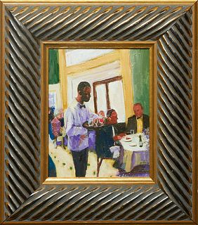 "Linda Lesperance (New York/New Orleans), ""Galatoire's Waiter Serving Beverages,"" 20th c., oil on canvas, signed lower right, presented in a gilt frame"