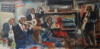 "Jack Cooley (1923-2008, New Orleans), ""Preservation Hall,"" 20th c., oil on board, signed lower left, unframed, H.- 15 in., W.- 30 in."