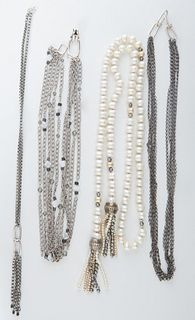 Four Mignon Faget Necklaces, 20th c., consisting of a silver link necklace with a welded chain link tasseled center, Length of chain- 25 in; a pearl a