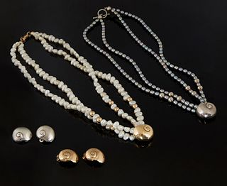Six Pieces of Mignon Faget Jewelry, 20th c., New Orleans, consisting of a pair of sterling snail clip earrings, and a matching sterling and double str