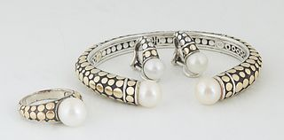 Three Pieces of John Hardy 18K Gold and Sterling Jewelry, consisting of a gold dot pearl cuff bracelet, each end with a 9mm white cultured pearl, toge