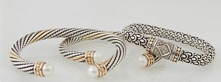 Group of Three Bracelets, consisting of two David Yurman inspired 14K yellow gold and sterling cable pearl bangles, each with an 8mm white cultured pe