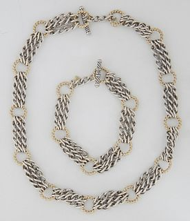 David Yurman Sterling Silver Chain Link Necklace, with twelve three chain silver links joined to thirteen 18K gold rings; together with a matching cha