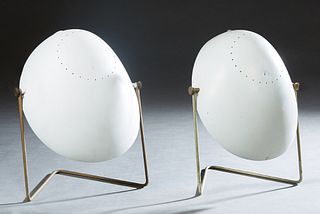 "Pair of Mid Century Modern Gerald Thurston For Lightolier White ""Cricket"" Table Lamps, c. 1950, with an oval white plastic shade and an iron tube ease"