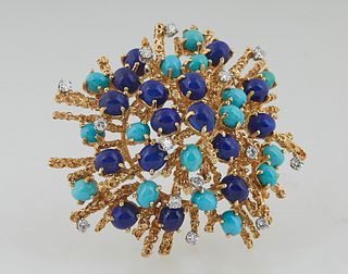 "Lady's Vintage 18K Yellow Gold ""Sputnik"" Brooch, mounted with thirteen seven point round diamonds, thirteen oval cabochon turquoise stones, and sevent"