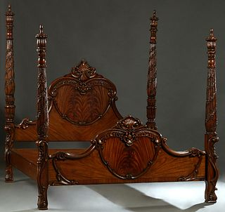 Contemporary Carved Mahogany King Size Poster Bed, 20th/21st c., the arched scrolled headboard, flanked by turned tapered floral carved posts, to wood