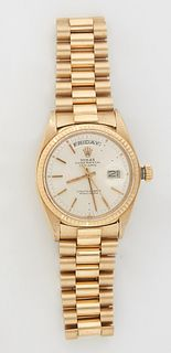 "Man's 18K Yellow Gold Rolex Oyster Perpetual Day Date ""Presidential"" Wristwatch, with an Italian 18K yellow gold link band, running. Provenance: The E"