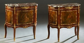 Pair of Louis XV Style Ormolu Mounted Mahogany Marble Top Nightstands, 20th c., the ogee edge highly figured bowed marble over a serpentine door with