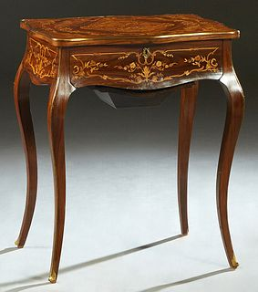 French Louis XVI Style Ormolu Mounted Marquetry Inlaid Rosewood Work Table, 19th c. and later, the brass bound top with an interior mirror, with open