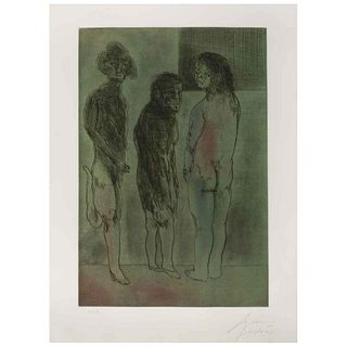 """JOSÉ LUIS CUEVAS, Carrer d'Avinyo, Signed and dated Barcelona 81, Etching and aquatint, 28.7 x 16.9"""" (73 x 43 cm)"""