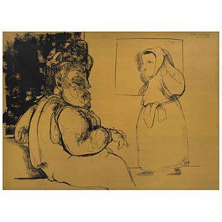 "JOSÉ LUIS CUEVAS, Jack el destripador, from the binder Crime by Cuevas, Signed and dated 68, Lithography 85/ 100, 21.8 x 28.3"" (55.5 x 72 cm)"