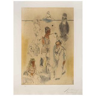"""JOSÉ LUIS CUEVAS, Barrio chino II, 1981, Signed and dated Barcelona 81, Etching and aquatint 36 / 100, 28.7 x 16.9"""" (73 x 43 cm)"""