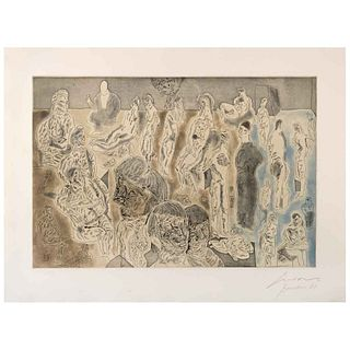 """JOSÉ LUIS CUEVAS, Barrion chino I, Signed and dated, Barcelona 81, Etching and aquatint H. C. 11/15, 16.9 x 24.8"""" (43 x 63 cm)"""
