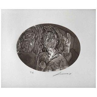 "JOSÉ LUIS CUEVAS, Untitled, Signed, Etching and aquatint P. E, 10.6 x 13.7"" (27 x 35 cm)"