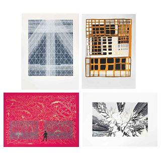 """GARCÍA CORREA, HENDRIX, ROMERO Y TORRES, Homenaje a los mayas y a Catherwood, Signed, Serigraphs 55 / 100, 29.5 x 21.2"""" (75 x 54 cm), Pieces: 4"""