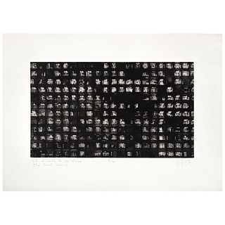 "OFILL ECHEVARRIA, El mundo de los vivos, Signed and dated 2002, Sugar etching P / T, 10.2 x 17.3"" (26 x 44 cm)"