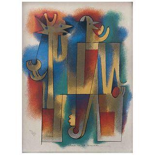 "CARLOS MÉRIDA, Cuando oigas a la Alondra cantar, Signed and dated 81, Serigraph 49 / 100, 28.3 x 21.2"" (72 x 54 cm)"