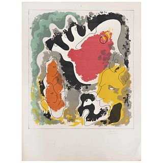 """CARLOS MÉRIDA, Untitled, from the binder Popol Vuh, Signed in pencil. Signed and dated 1943, Lithography without print number, 12.2 x 10.6"""" (31 x 27 c"""