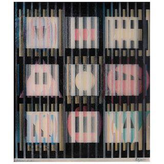 "YAACOV AGAM, Untitled, Signed, Agamograph 24 / 25 E. A., 14.5 x 12.5"" (37 x 32 cm)"