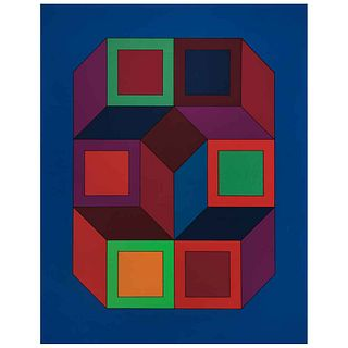 """VICTOR VASARELY, Xico 4, Signed, Serigraphy on cardboard FV 26 / 260, 35.4 x 28.3"""" (90 x 72 cm)"""