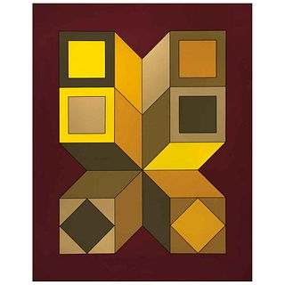 """VICTOR VASARELY, XICO 6, 1973, Signed, Serigraph on cardboard FV 26 / 260, 35.4 x 28.3"""" (90 x 72 cm)"""