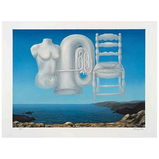 "RENÉ MAGRITTE, Le temps menacant, 2010, Signed with stamp, Lithography 53 / 275, 14.9 x 20"" (38 x 51 cm), Stamp"