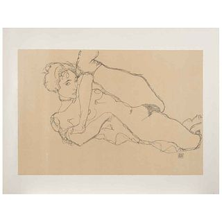 """EGON SCHIELE, Nu la jambe levée, Signed on plate, Lithography without print number, posthumous edition, 21.2 x 14.3"""" (54 x 36.5 cm)"""